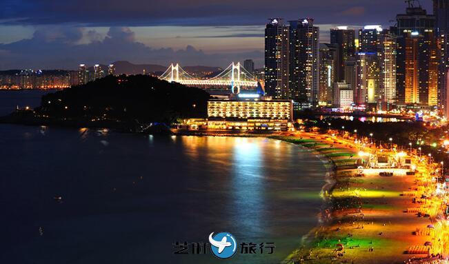 韩国釜山旅游 韩国釜山广域市海云台区海云台海水浴场